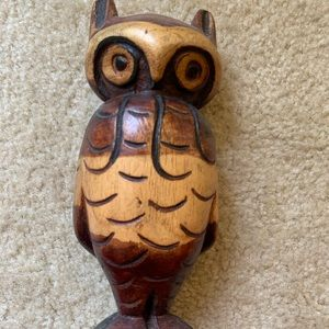 Jamaican hand-carved wood owl